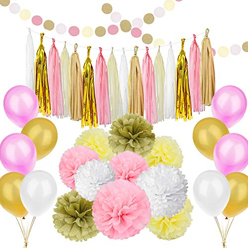 89 pcs Gold Pink Party Decorations Kit SIMPZIA Party Supplies Including Paper Flowers & Tissue Tassel Garland & Party Balloons for Birthday Party,Engagement,Wedding,Baby Shower(DIY)