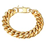 PROSTEEL 18K Gold Plated Tone Chain Bracelet,Hip Hop,Cuban Link Bracelet,Men Jewelry,PSH2914J-19