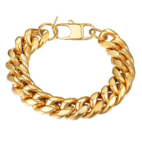 Link Chunky Bracelet (Chunky MASSIVE Miami Cuban Link Chain Bracelet Heavy Duty Super Strong Gold Stainless Steel HipHop Rocker Biker Rapper Large Bracelet,PSH2914J-21)