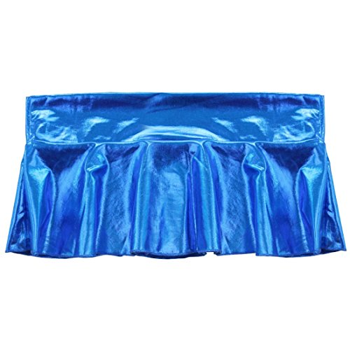 FEESHOW Mujer Mini Falda PU Plisado Danza Vestido Corta de Clubwear Azul