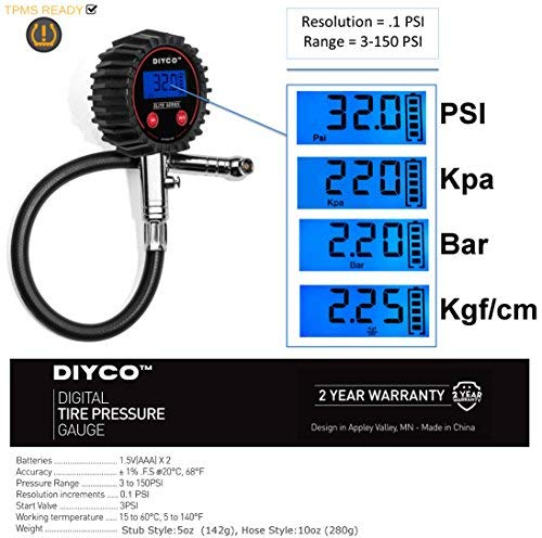 DIYCO D0 | Digital Tire Pressure Gauge | for Cars Motorcycle Rv SUV Truck TPMS Bike | 150 PSI with Heavy Duty Air Hose | Professional-Grade High Accuracy Gauges | Designed in USA