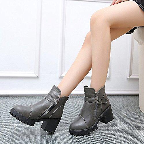 HSXZ Zapatos de mujer invierno PU Confort botas de tacón puntera redonda rodilla botas altas para exterior gris negro Borgoña Gray