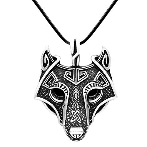 Paw Paw House Mens Wolf Head Necklace Pendant for Dog Lover Men Norse Viking Warrior Arrow Headed Amulet Jewelry (4172)