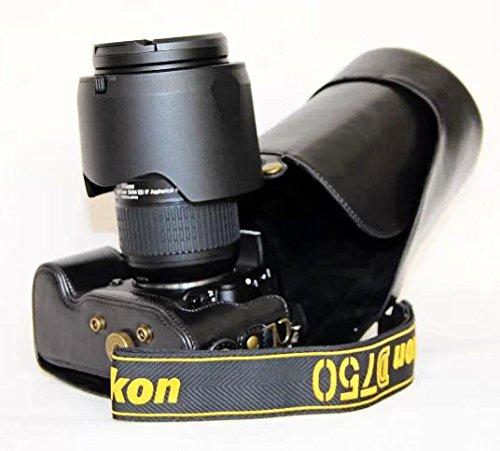 Protective Leather Case Bag PU Material Protector for Nikon D750 (24-85mm Lens) FX-format Digital SLR Camera (Black)