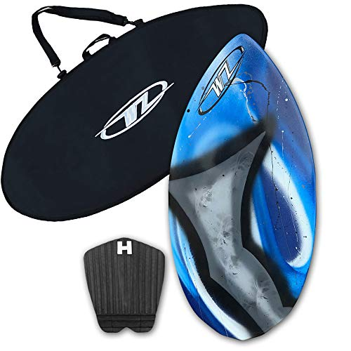 Wave Zone Diamond Skimboard Combo Package for Beginners & Kids up to 110 Lbs - Blue Skimboard, Board Bag & Traction Pad (Board and Bag with Black Traction)