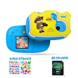 Amkov Kids Camera Cute DIY Digital Camera for Kids 1.44 inch IPS Mini Video Camera with Cartoon Sticker Gift for Children Boys Girls Blue