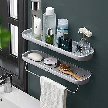 Estanterías para baño,adhesivo estanteria ducha con barra de toalla, aluminio Espesamiento estanteria baño sin taladro montado en la pared estante ...