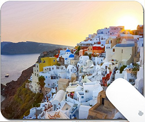 Luxlady Gaming Mousepad 9.25in X 7.25in IMAGE: 34445947 World famous traditional whitewashed chuches and houses of Oia village on Santorini island Greece Sunset - Whitewashed Buildings