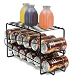 Home Basics Soda Can Beverage Dispenser Rack for Cabinet, Pantry, or Refrigerator – Dispenses 12 Standard Size 12 oz Soda Cans and 12 oz Canned Foods, Onyx Chrome Finish