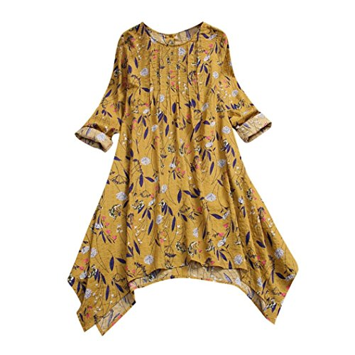 - Sunhusing Women Cotton Linen Long-Sleeved Vintage Floral Print Folds Design Flowy Hem Shirt