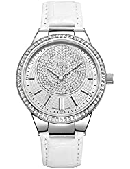 JBW Womens J6345 Camille 0.16 ctw Real Diamond and Stainless Steel Watch with Genuine Calf Leather Band