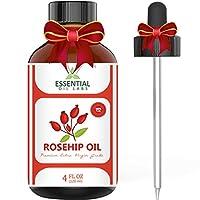 Aceite de rosa mosqueta - Grado extra virgen orgánico - Botella grande de 4 onzas - La mejor compañera de belleza para cara, uñas, cabello y piel - con gotero de vidrio de primera calidad de Essential Oil Labs