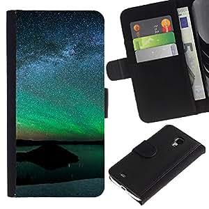 "A-type (Aurora Paisaje"") Colorida Impresión Funda Cuero Monedero Caja Bolsa Cubierta Caja Piel Card Slots Para Samsung Galaxy S4 Mini i9190 (NOT S4)"