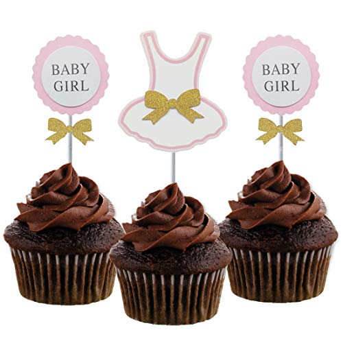 Morndew 24 PCS Baby Girl Cupcake Toppers with Golden Bowknot for Baby Shower Birthday Party Cupcake Decoration
