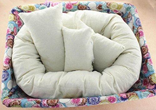 4 PC Newborn Photography ,Basket Filler Wheat Donut Posing Props Baby Pillow (White )