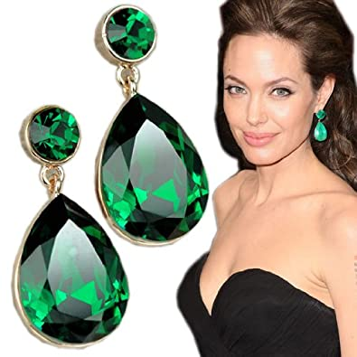 a754759b9 Amazon.com: Angelina Jolie Inspired Gold Plated Emerald Crystal Drop  Earrings: Jewelry