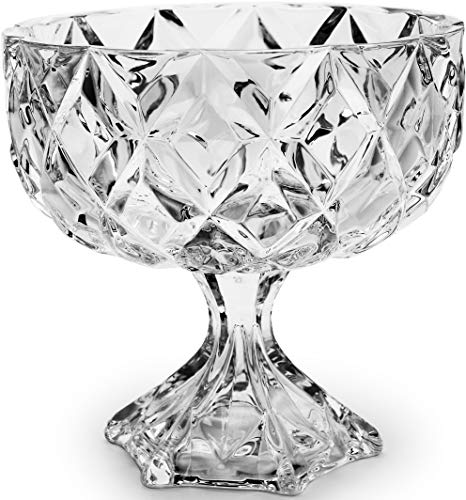 Circleware 10205 CG Society Elite Diamond Cut Footed Glass Trifle Bowl Home & Kitchen Serving Platter for Fruit, Ice Cream, Dessert, Salad, Cheese, Candy, Food Cake Plate Stand 9.75