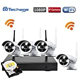 Techage Wifi Security System/ Wireless CCTV System Outdoor/ Indoor, 4CH 1080P 2.0MP Waterproof IP Camera, 65ft Night Vision, Plug & Play, Home Security Surveillance Kits With 2tb Hard Disk For Sale