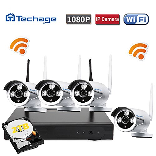 Techage Wifi Security System/ Wireless CCTV System Outdoor/ Indoor, 4CH 1080P 2.0MP Waterproof IP Camera, 65ft Night Vision, Plug & Play, Home Security Surveillance Kits With 2tb Hard Disk