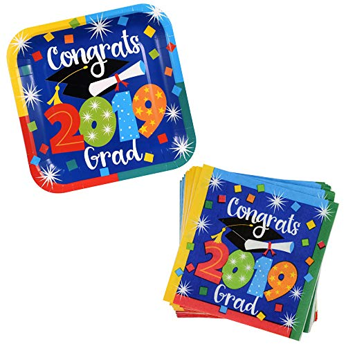 Graduation Plates And Napkins 2019 With Bright And Bold Colors: 12 Square Paper Plates, 18 Matching Paper Luncheon Napkins