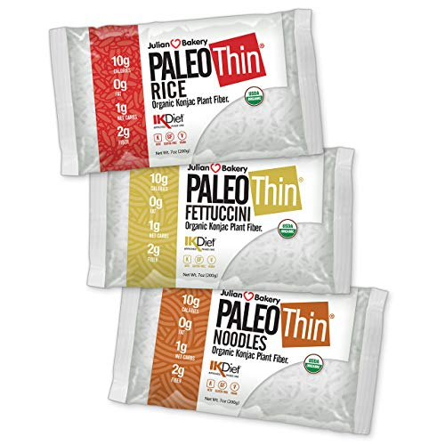 Organic Paleo Thin Noodles Rice Fettuccine Variety Box (6 Packs Total 2 Ea) Low Carb Keto Gluten-Free