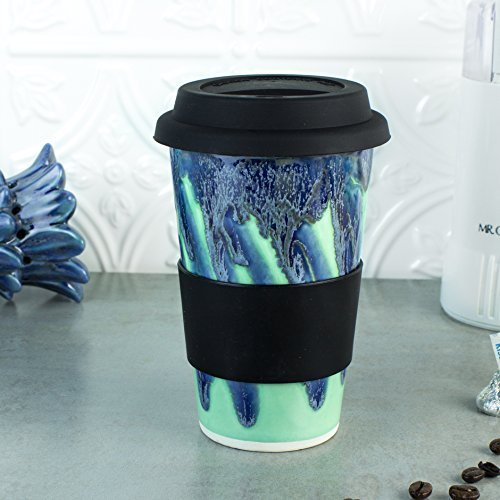 Mint Green Travel Mug with Lid, 14 ounce to Go Mug with Silicone Lid by BlueRoomPottery
