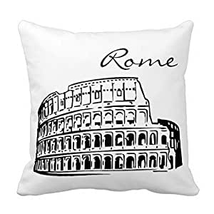 JeremyArtStore 18 x 18 Inches Decorative Cotton Linen Square Throw Pillow Case Cushion Cover Black and White Rome Landmark Design