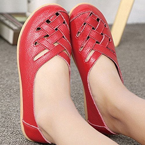Slip Fantiny Shoes Loafers Leather red Genuine Slippers Casual On Driving Indoor 4 Flat Women's Moccasin rqr1HWv0
