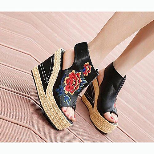 Sandali Dimensioni da Scarpe Punta Zeppa Ricamate Colore Etnico Donna Paglia Nero Aperta 39 Stile zwa7xHqE
