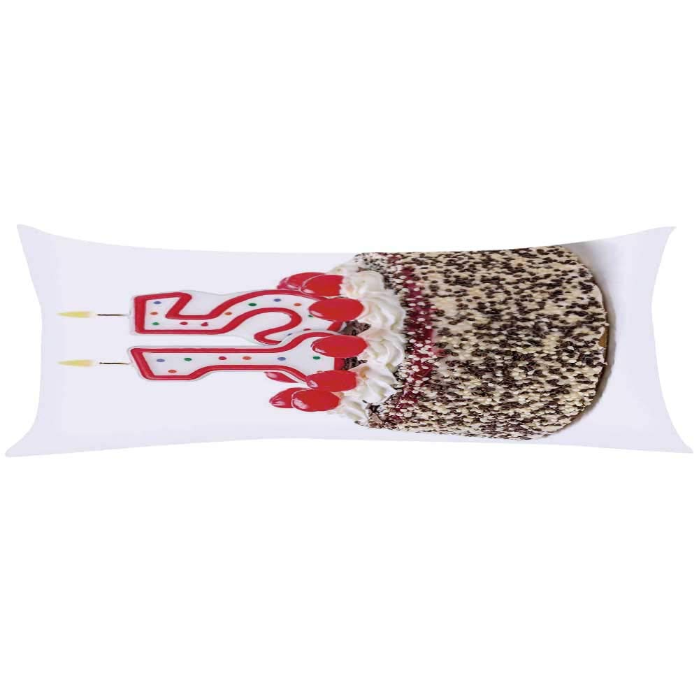 YOLIYANA 15th Birthday Decorations Long Body Pillow,Chocolate Cherry Cake with Number Candles Surpise Party Theme for Teens Adults,63'' Lx19.6 W by YOLIYANA