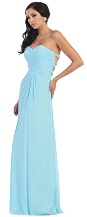 May Queen MQ1251 Sexy Prom Simple Dress - Blue - 12