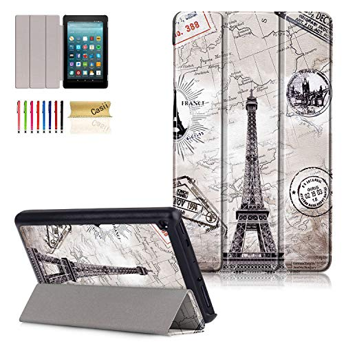 Slim Shell for All-New Amazon Fire 7 Tablet (9th Generation, 2019 Release), Casii Lightweight Trifold Stand PU Leather Protective Cover Case for Kindle Fire 7-inch Tablet 9th Gen - 2019, Eiffel Tower