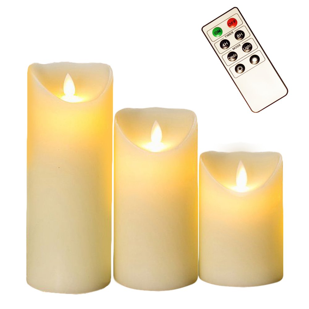 Romandle Flameless Candles LED with Remote - Non-Wax Flickering, Dancing Flame - Unscented Battery OperatedCandle Set - 8 Key Control - 4 and 8 Hour Timer - Indoor - Set of 3-4'' 5'' 6''