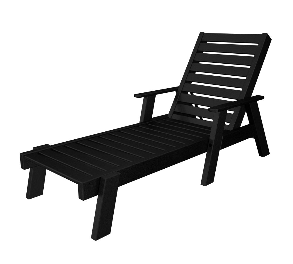 Modern outdoor chaise lounge - Amazon Com Polywood Ac2678 1bl Captain Chaise With Arms Black Patio Lawn Garden