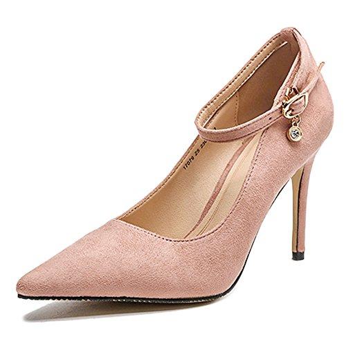 Fiesta Bajos Tobillo Bombas Hebilla Tacones De Vestido Cy Altos Pink Sexy Las Stiletto Señoras Correa Mujer Moda 5TwqO0
