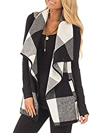 Womens Vest Jackets Sleeveless Cardigans Drape Front Long Plaid Cardigan With Pockets