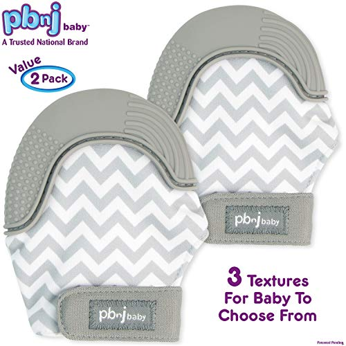 PBnJ baby Silicone Infant Teething Mitten Teether Glove Mitt Toy Travel Bag-Gray Chevron 2pk ()