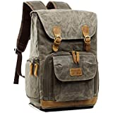 Father's Day Gift S-ZONE Waterproof Waxed Canvas Camera Backpack Camera Case 14 inch Laptop and Tripod (2-Army Green)