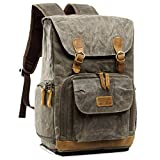 S-ZONE Waterproof Waxed Canvas Camera Backpack Camera Case 14 inch Laptop and Tripod (2-army green)