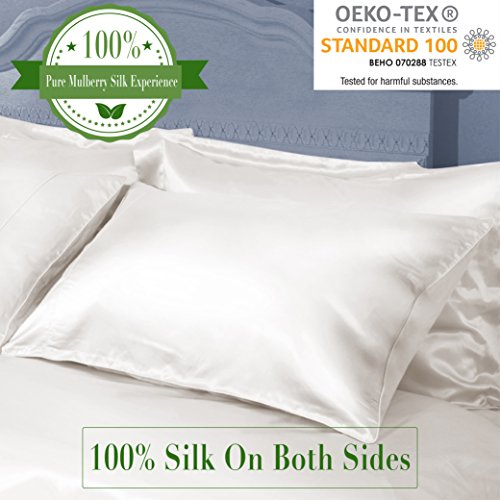 MYK - Natural Collection 100% Silk Pillowcase For Hair - 19 Momme on Both Side with Deep Envelope Closure - King Size 20 x 36 Inches, Ivory