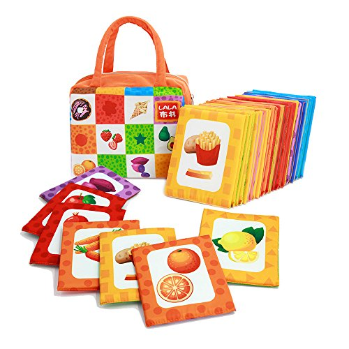 LALATOY Cloth Cards for Baby,Fabric Activity cards,Soft Acti