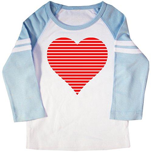 Happy Family Clothing Kids Valentine's Day Heart Raglan t-Shirt (6/8, White & Light Blue)