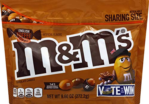 M&M's Chocolate Candy Flavor Vote English Toffee Peanut Sharing Size, 9.6 Ounce Bag