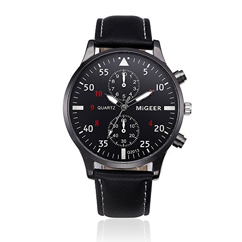 COOKI Mens Watches Clearance Retro Design Fashion Dress Wrist Quartz Watches with Digital Dial Leather Band Casual Alloy Analog Classic Business Watches for Men (Black)