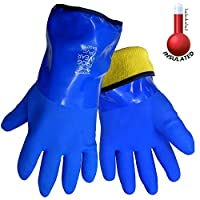 FrogWear 8490 Insulated & Waterproof Blue Tripple Dipped Work Gloves, Ultra Flexible, Chemical and Oil Resistant, Sizes M-XL (1 Pair)