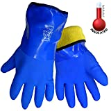 FrogWear 8490 Insulated & Waterproof Blue Tripple Dipped Work Gloves, Ultra Flexible, Chemical and Oil Resistant, Sizes M-XL (1 Pair) (Extra Large)
