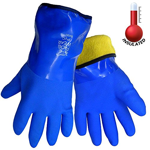 (FrogWear 8490 Insulated & Waterproof Blue Tripple Dipped Work Gloves, Ultra Flexible, Chemical and Oil Resistant, Sizes M-XL (1 Pair) (Large))