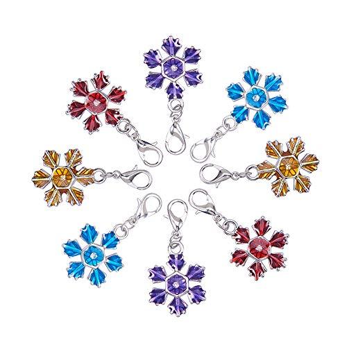 Pandahall 10pcs Mixed Christmas Snowflake Zinc Alloy Enamel Pendants with Brass Lobster Claw Clasps, 37mm, Hole: 3mm - Enameled Purse Pendant