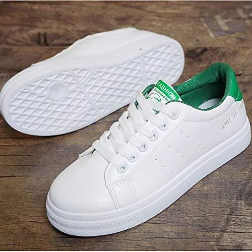 ZHZNVX Zapatos de Mujer PU (Poliuretano) Primavera/Verano Comfort Sneakers Flat Heel Cerrado con Punta Blanca/Negra / Verde Green