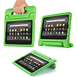 "TNP Case for All-New Fire HD 8 Tablet - Kids Shock Proof Soft Light Weight Childproof Impact Drop Resistant Protective Stand Cover with Handle for Fire HD 8"" Tablet 6th Gen 2016 Release (Green)"